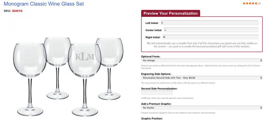 Preview of Iconic Imprint's monogrammed wine glass set